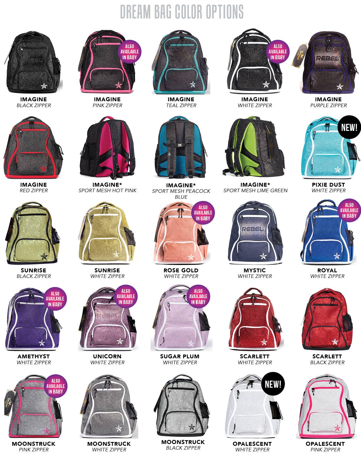 dream bag color options